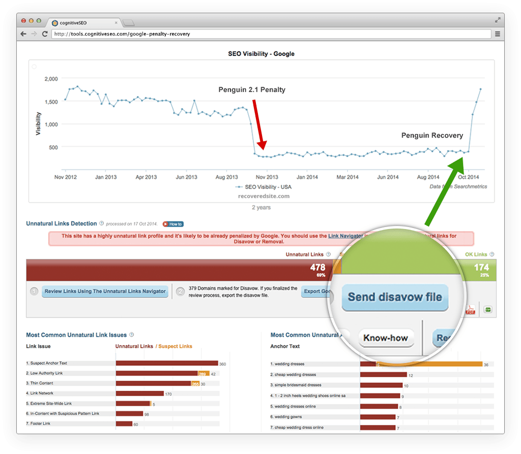 cognitiveSEO Demo - Unnatural Link Detection for Both Algorithmic and Manual Penalties
