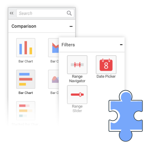 Syncfusion Dashboard Platform Demo - Rich selection of widgets