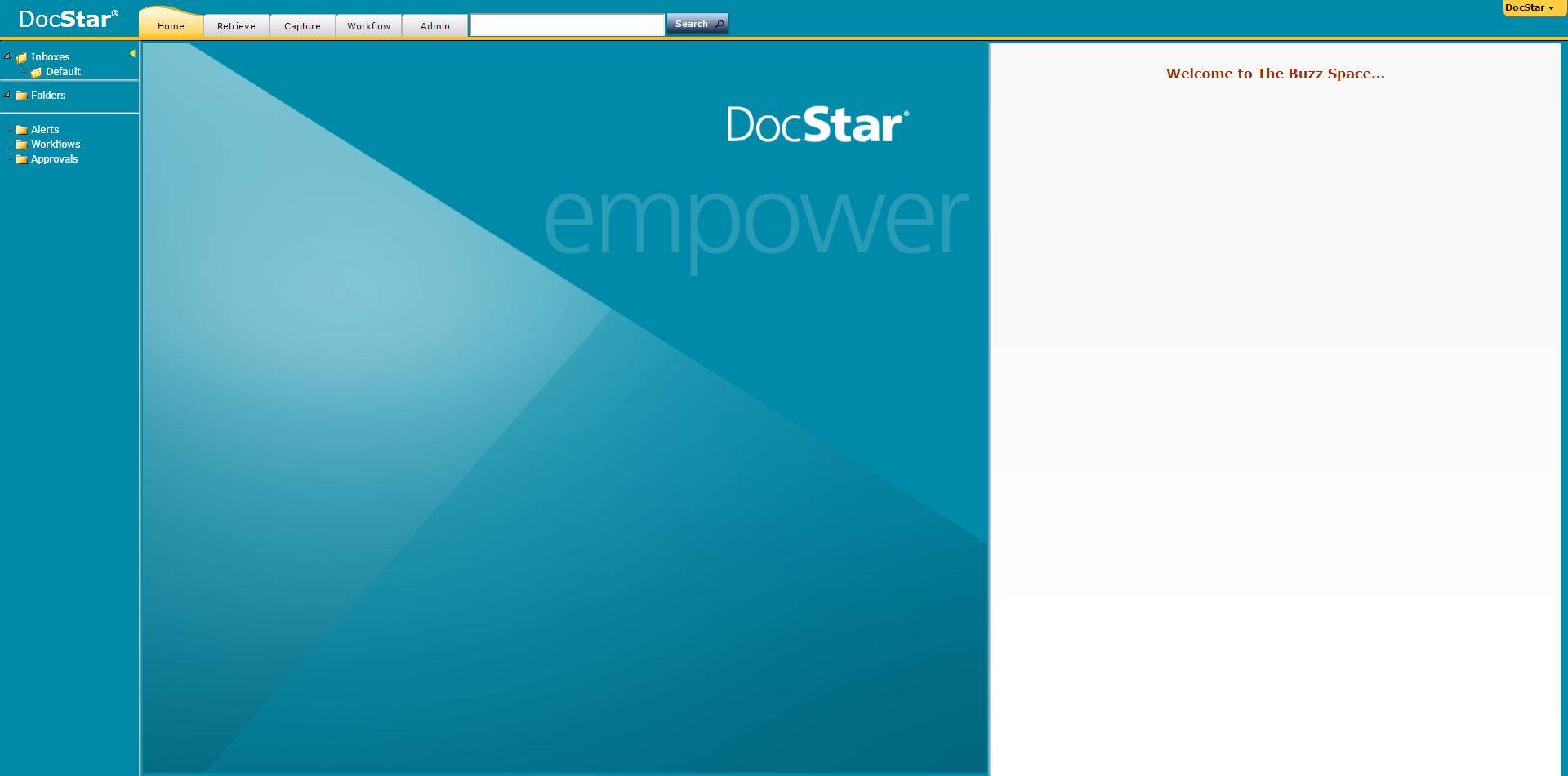 DocStar ECM Demo - DocStar ECM Home Screen