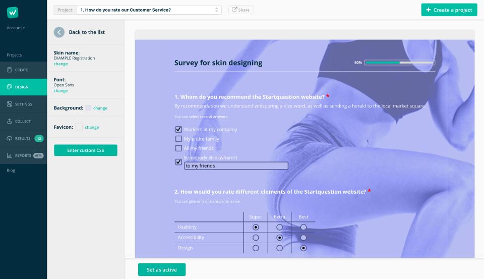 Startquestion Demo - Design your survey