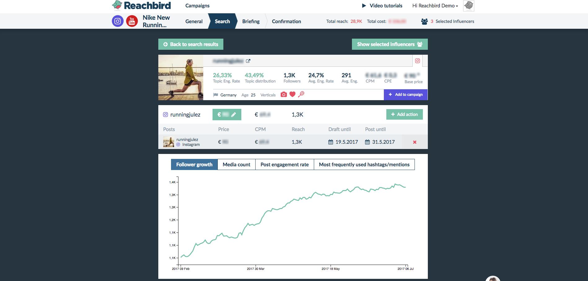 Reachbird Demo - Influencer Insights example