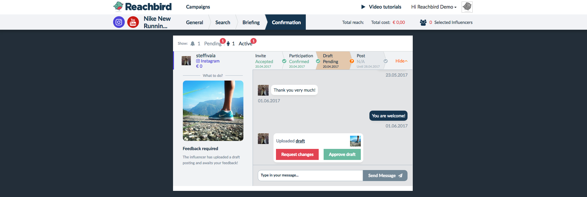 Reachbird Demo - Influencer Chat & Campaign Manager