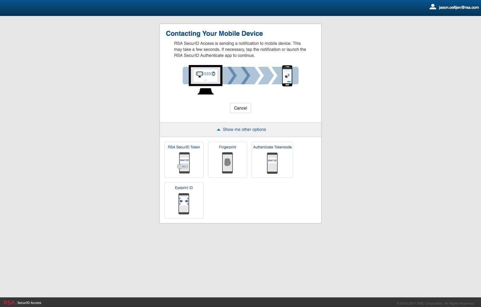 RSA SecurID® Access Demo -  RSA SecurID® Access Authentication Screen