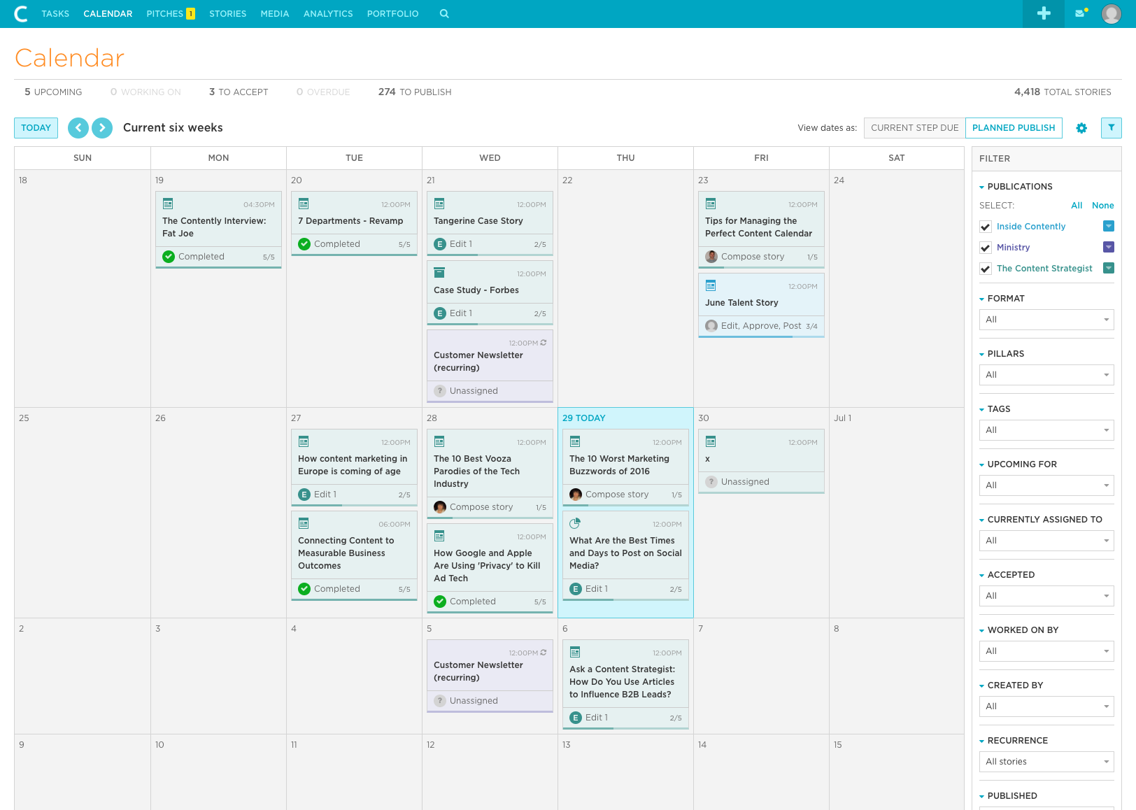 Contently Demo - Global Calendar