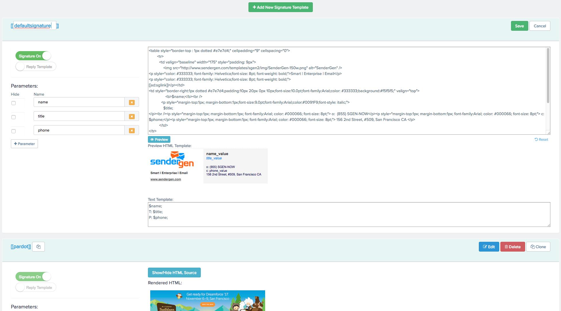 Opensense Demo - Signature editor