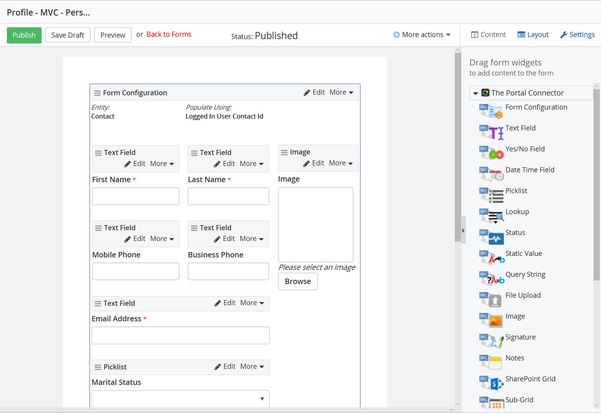 Portal Connector for Dynamics CRM/365 Demo - Form Designer