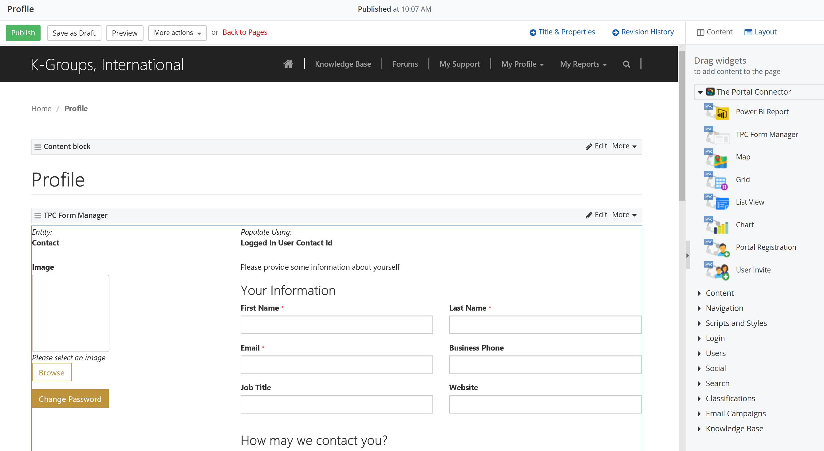 Portal Connector for Dynamics CRM/365 Demo - Page Designer