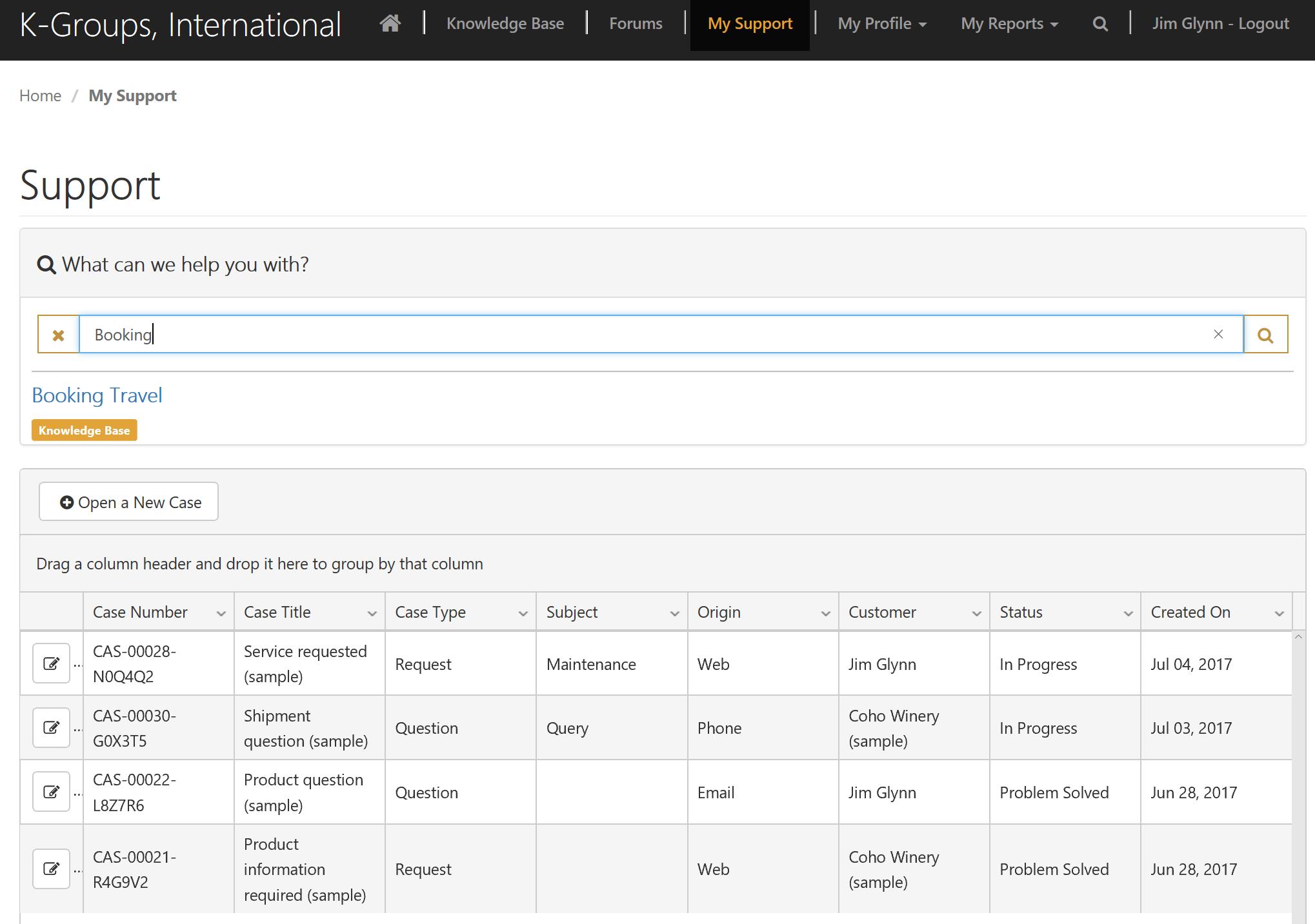 Portal Connector for Dynamics CRM/365 Demo - Case Management