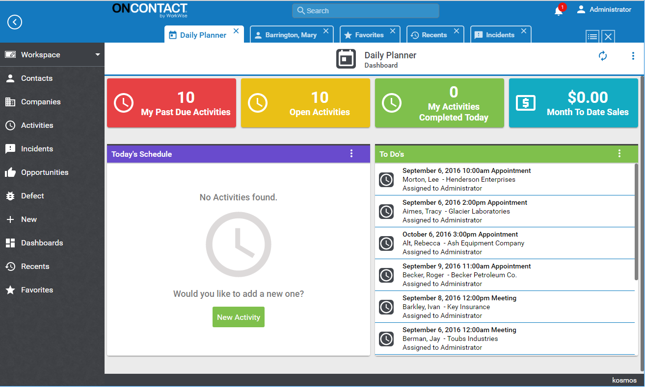 Oncontact Demo - CRM 10 Dashboard