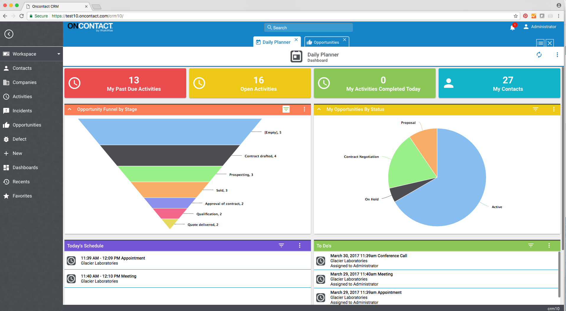 Oncontact Demo - Pipeline Management Dashboard