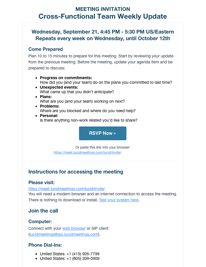 Lucid Meetings Demo - Scheduling & Invitations