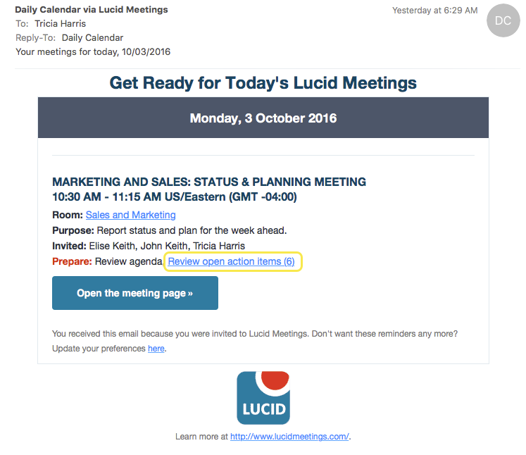 Lucid Meetings Demo - Alerts and Reminders