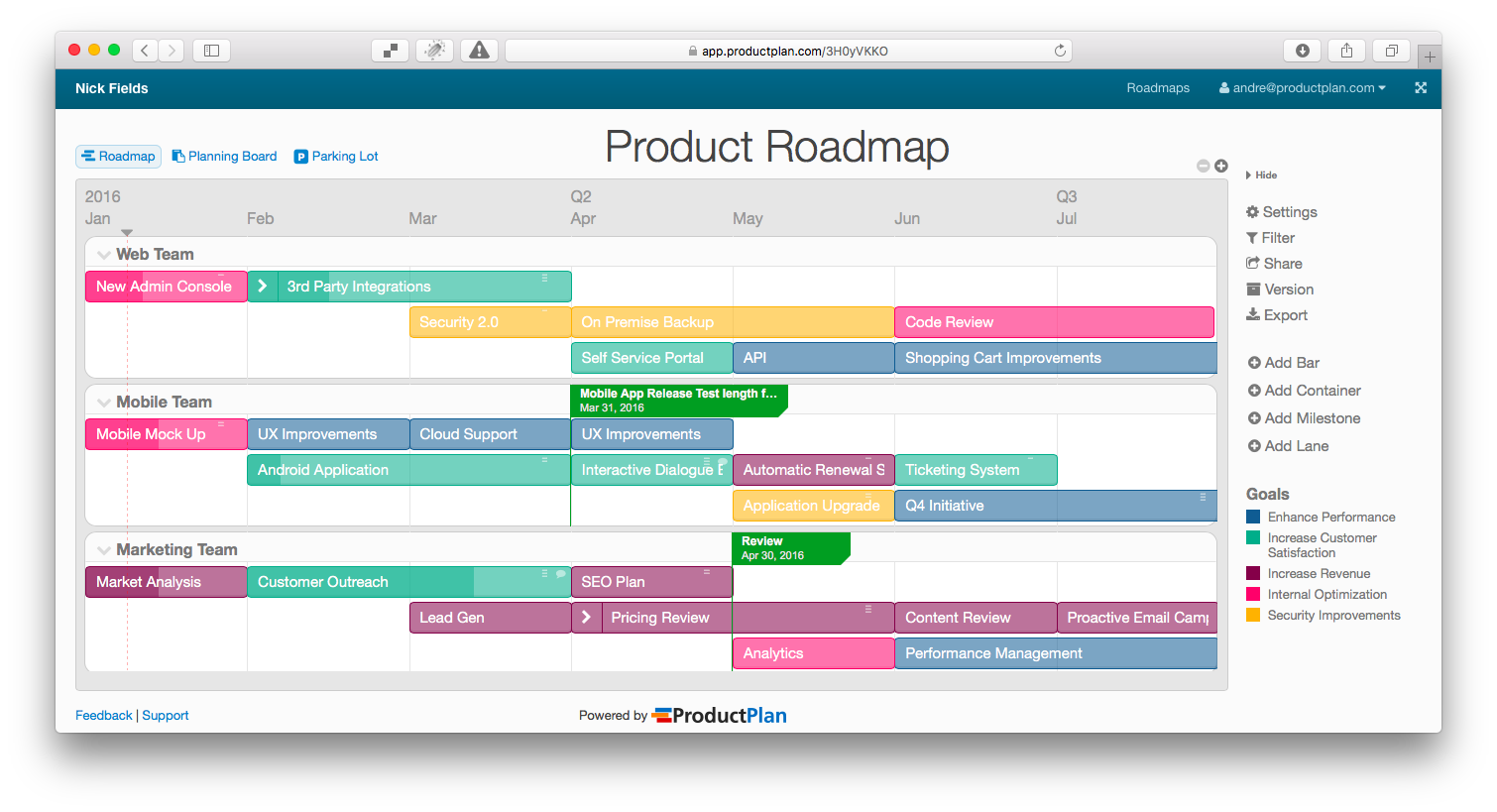 ProductPlan Demo - ProductPlan Roadmap