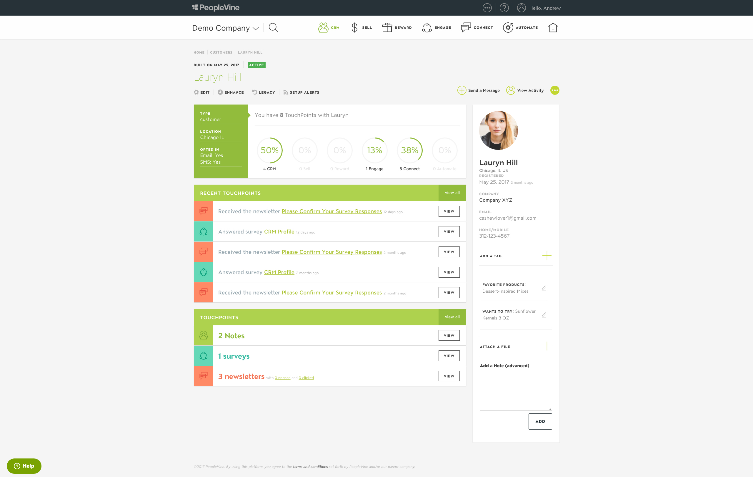 PeopleVine Demo - PeopleVine CRM