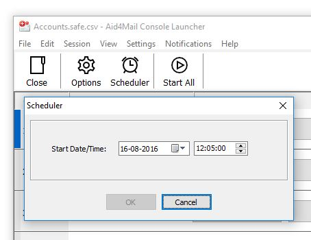 Aid4Mail Demo - Aid4Mail Console Launcher - Scheduler