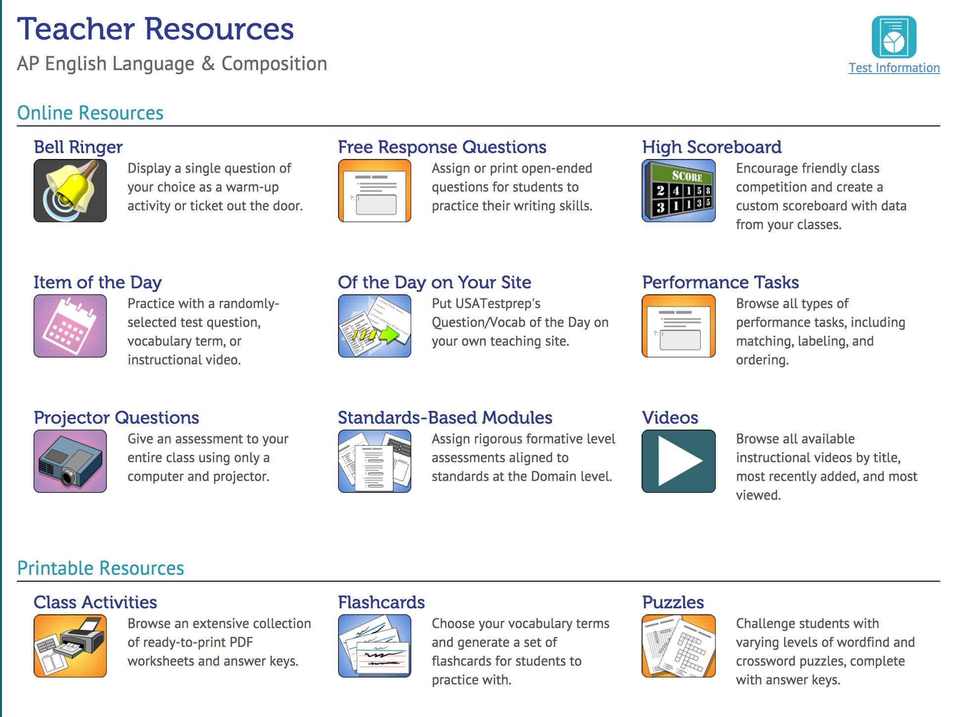 USATestprep Demo - Standards Aligned Curriculum Resources