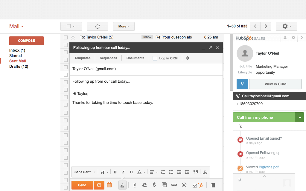 HubSpot Sales Demo - Get Your Emails Opened and Calls Answered