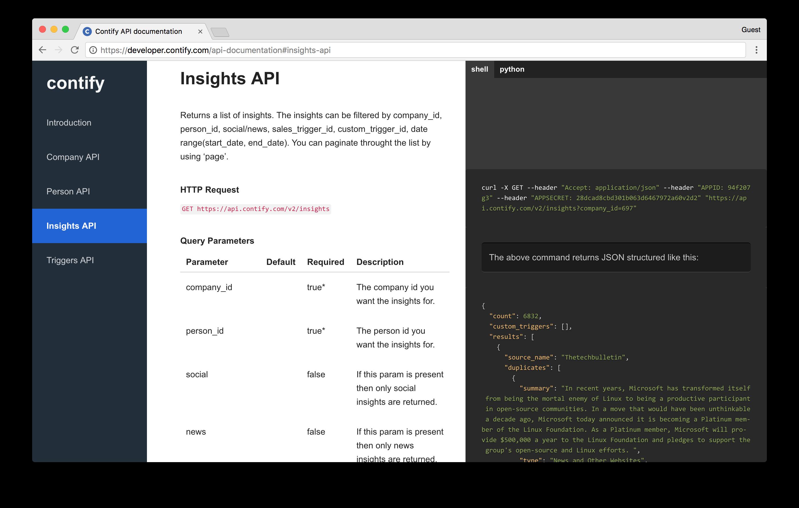 Contify Demo - API (Insights)