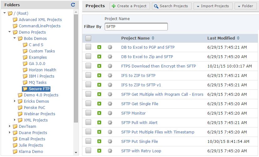 GoAnywhere MFT Demo - Project Explorer