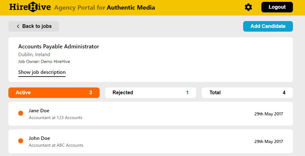 HireHive Demo - Agency Portal