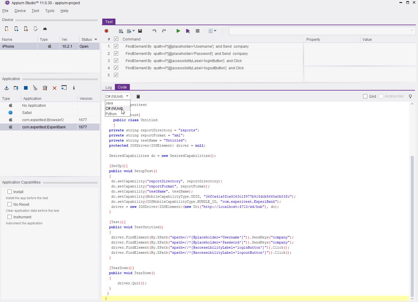 Appium Demo - code+xport+frameworks.png