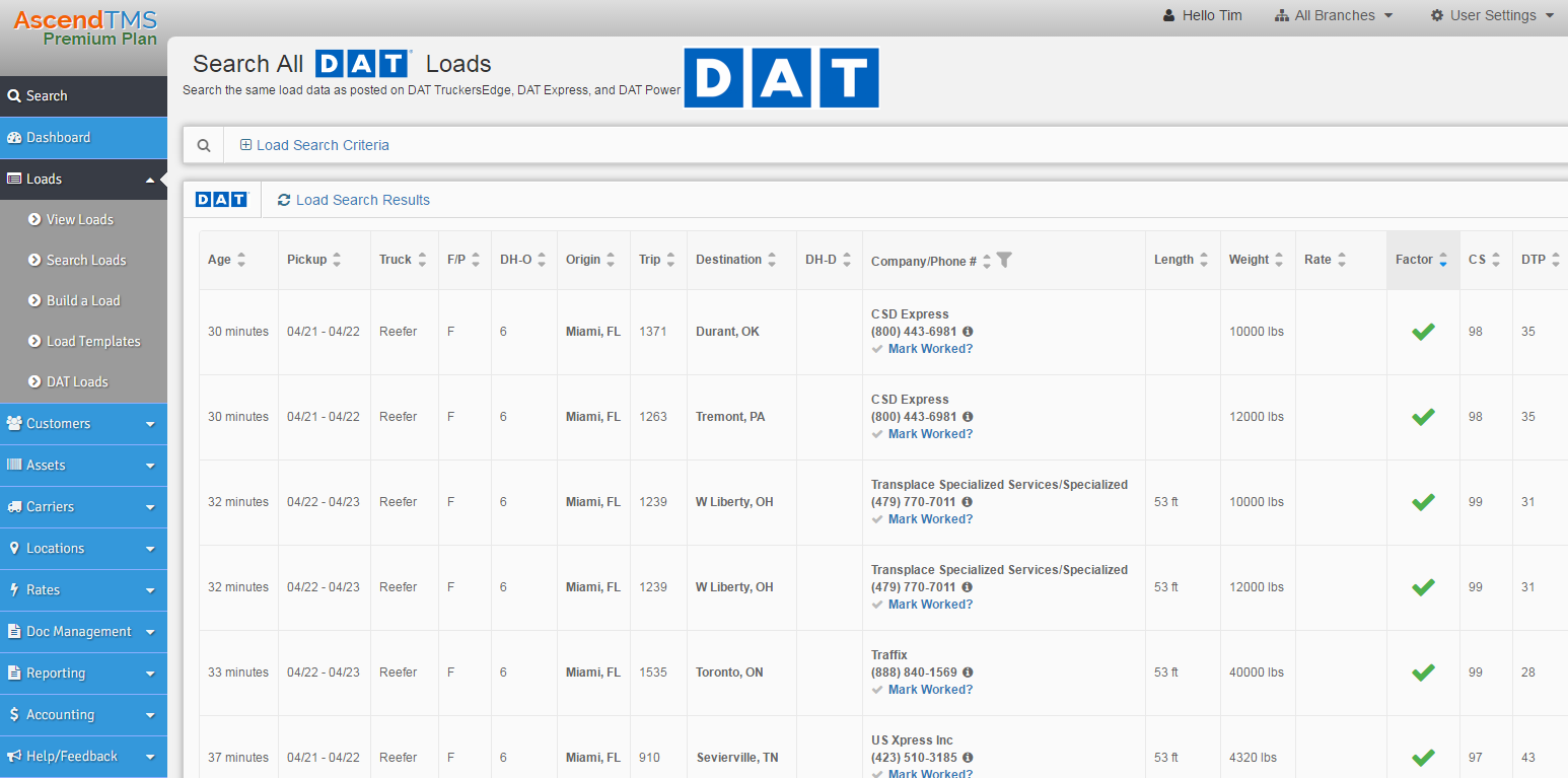 AscendTMS Demo - DAT Endorsed - and Load Searching Is Included