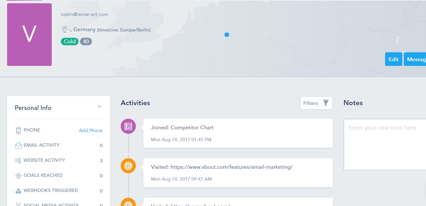 VBOUT Demo - In-Depth User Activity Timeline