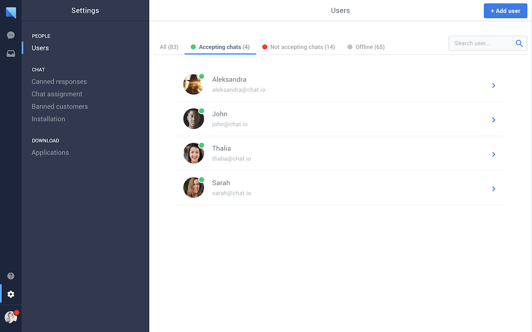 chat.io Demo - Team management in chat.io