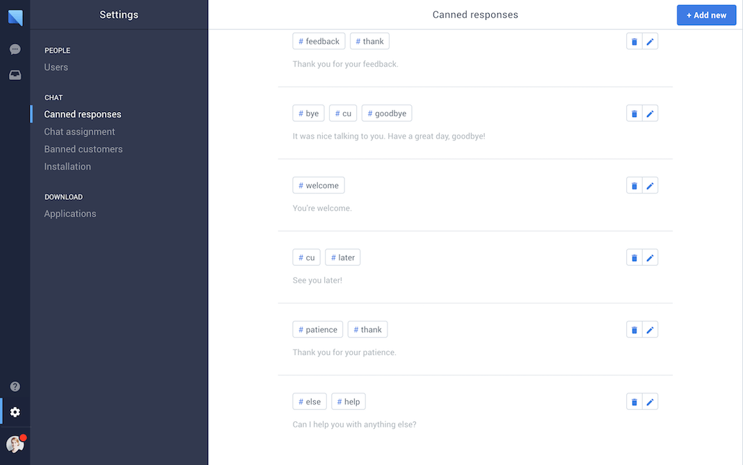 chat.io Demo - Canned responses