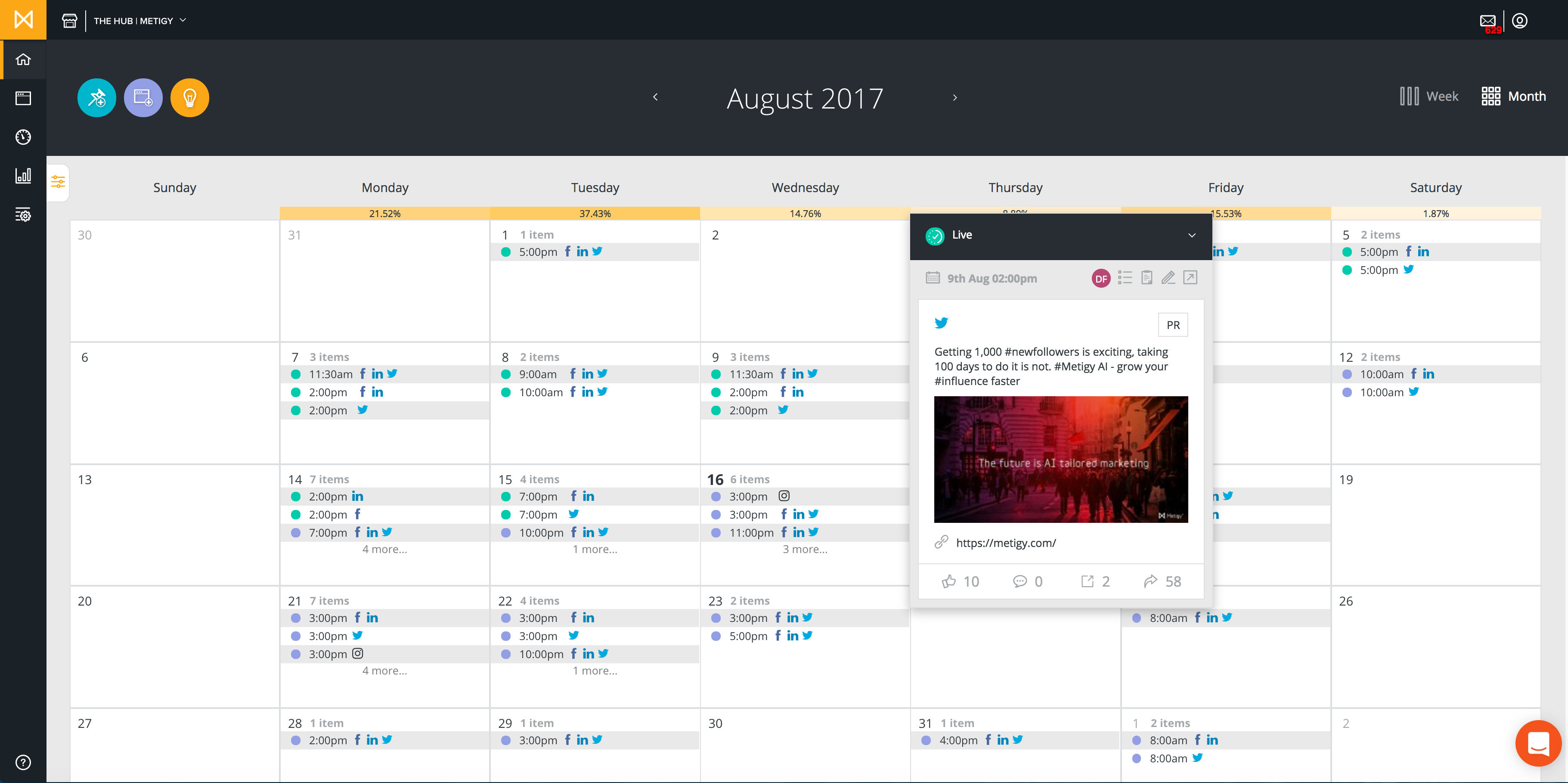 Metigy Demo - Metigy Planning & Collaboration calendar