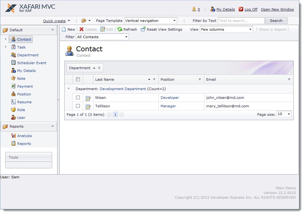 Xafari Framework Demo - Xafari MVC