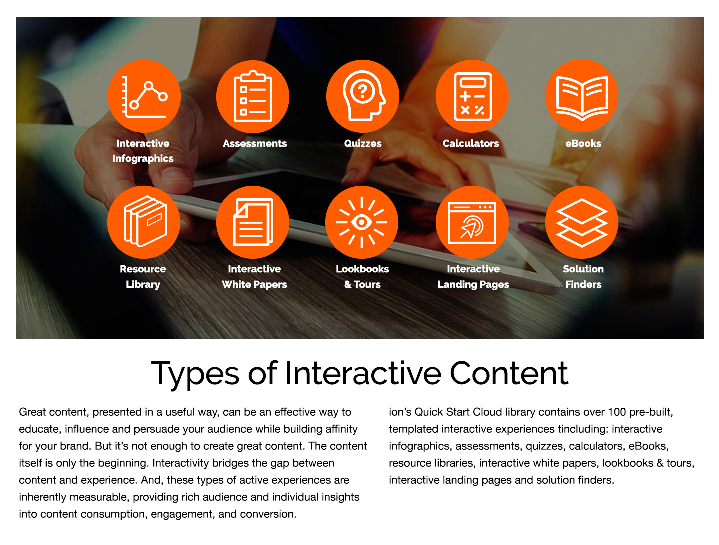 ion interactive Demo - Types of Interactive Content