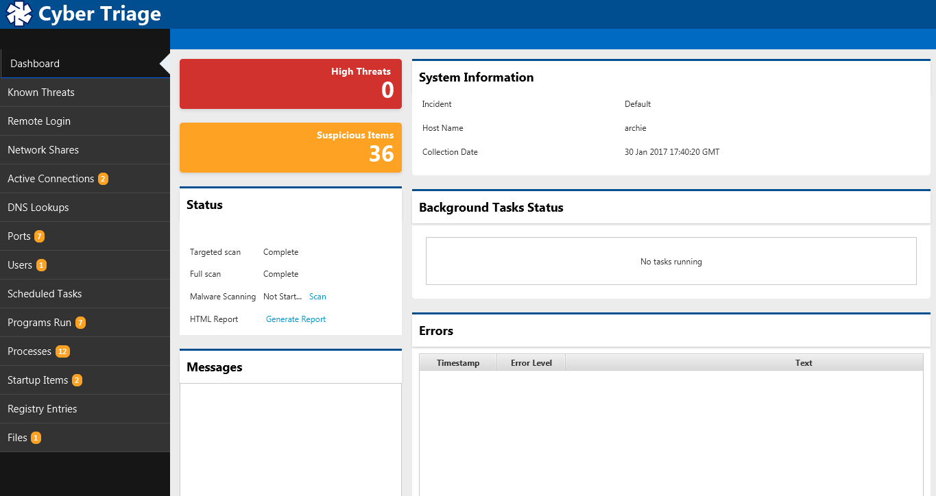 Cyber Triage Demo - Cyber Triage Dashboard