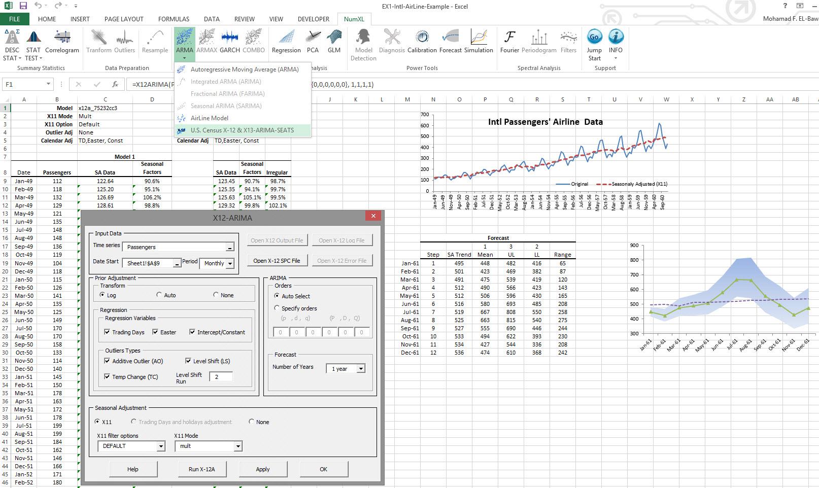 NumXL Demo - X12-ARIMA  & Seasonal Adjustment