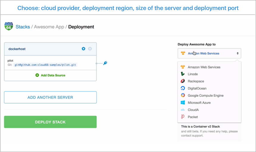 Cloud 66 for Containers Demo - Step 5: Deploy to any cloud or any server