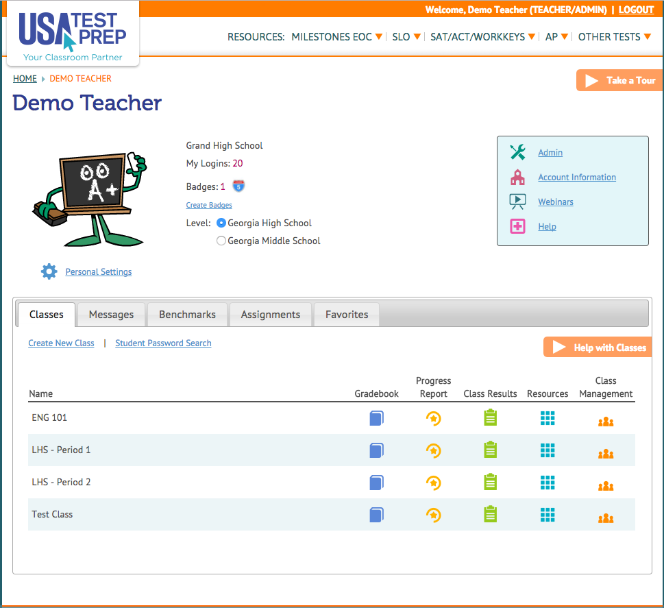 USATestprep Demo - Teacher Dashboard