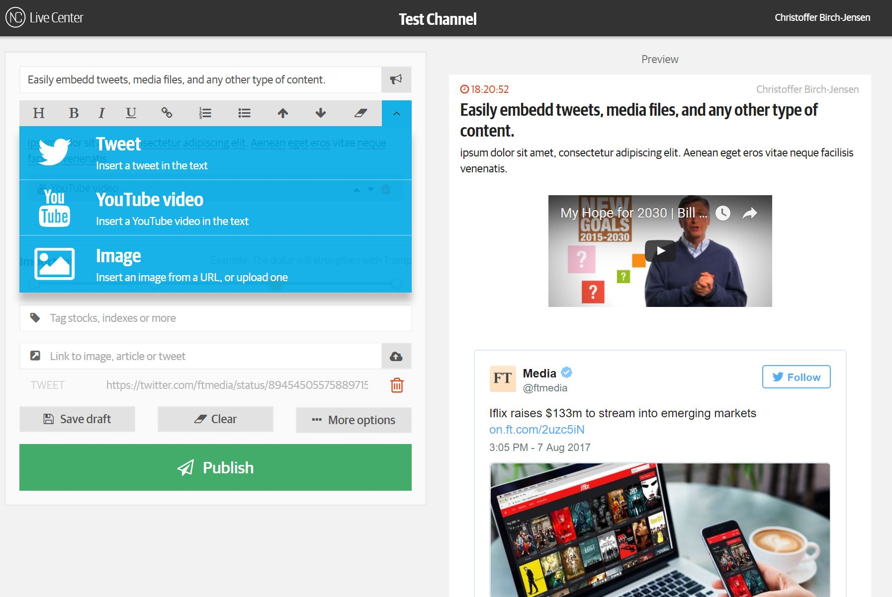 Live Center Demo - Embed Social media content and any other 3rd party content