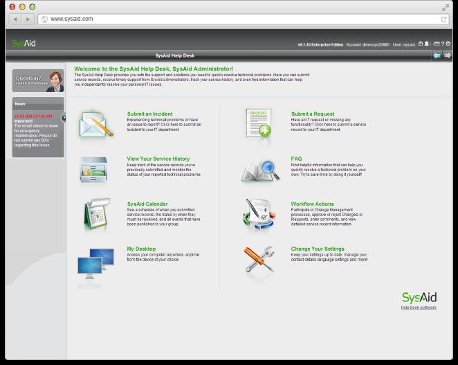 SysAid Demo - SysAid Self-Service Portal