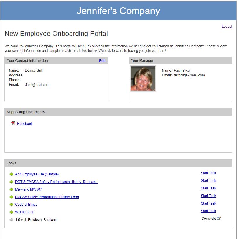 ApplicantStack Demo - Onboard Employee Portal