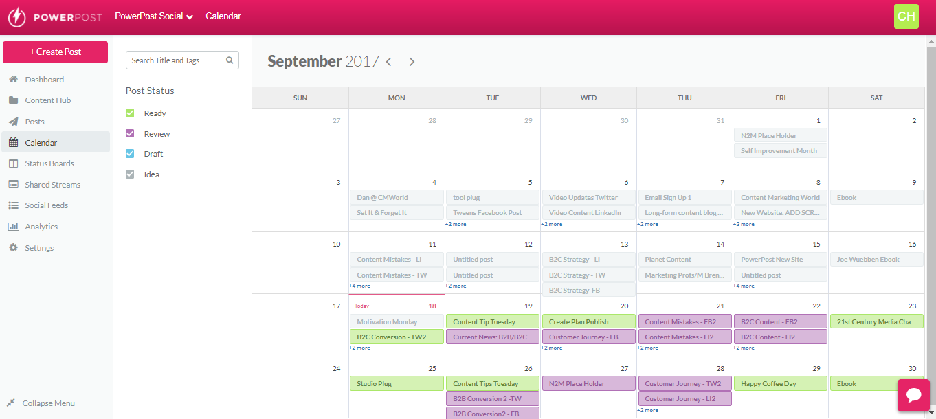 PowerPost Demo - Calendar View