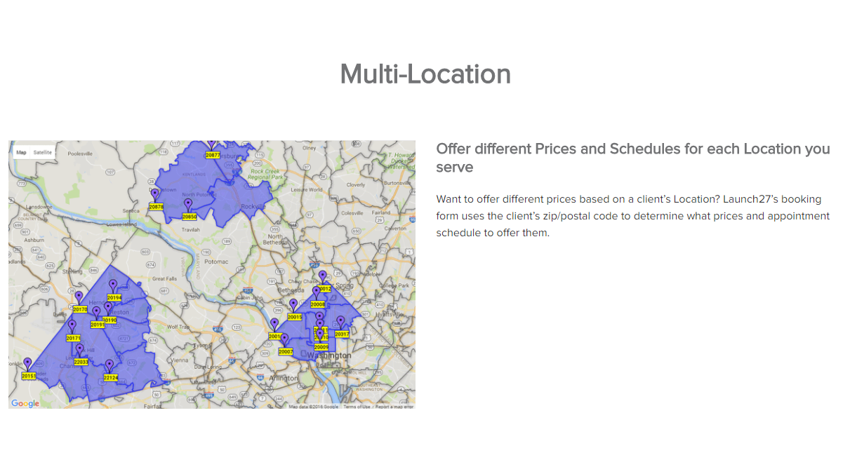Launch27 Demo - Offer different Prices and Schedules for each Location you serve