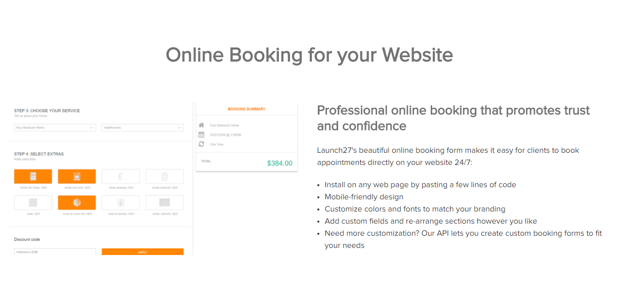Launch27 Demo - Professional online booking that promotes trust and confidence