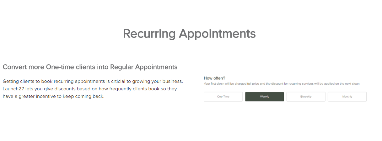 Launch27 Demo - Convert more One-time clients into Regular Appointments