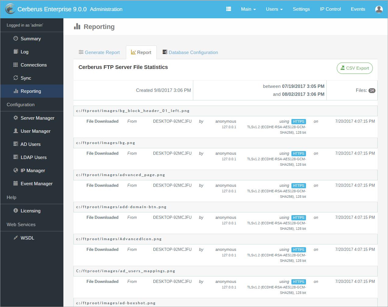 Cerberus FTP Server Demo - Cerberus FTP Server 9.0 File Report