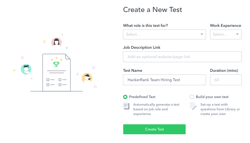 HackerRank Demo - Create a New Test