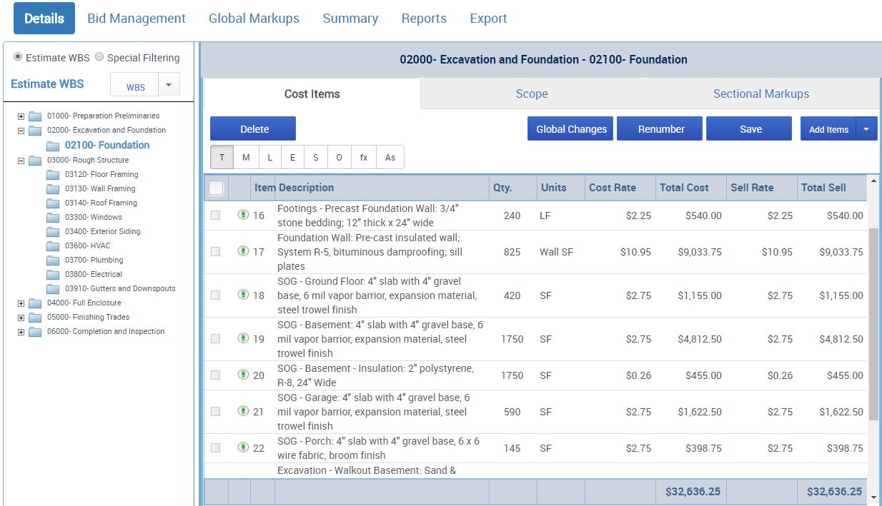 Corecon Demo - Estimating and Vendor Bid Management