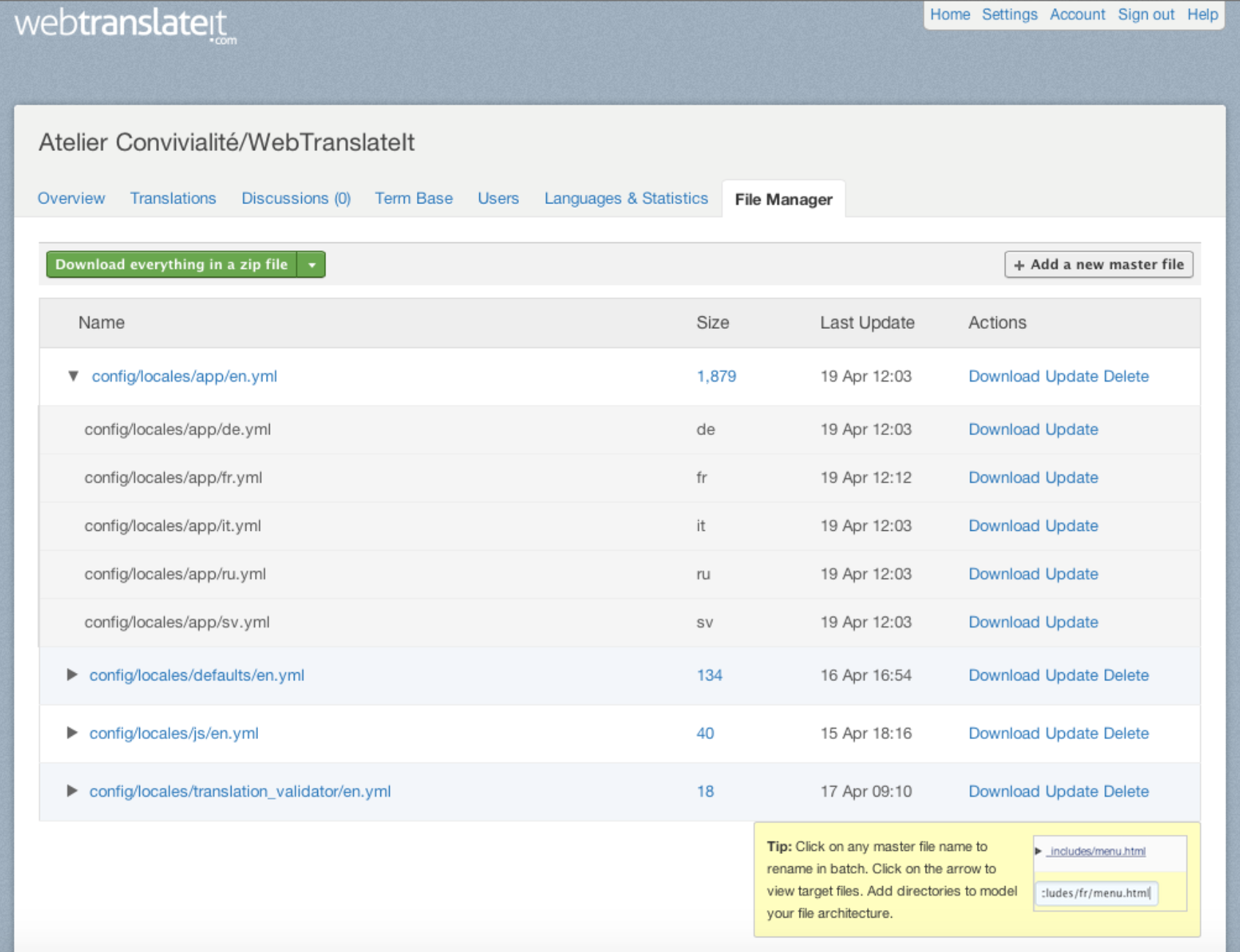 webtranslateit.com Demo - Your File Manager