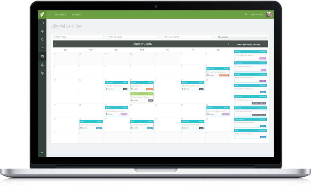 Contentools Demo - Integrated Drag and Drop Editorial Calendar