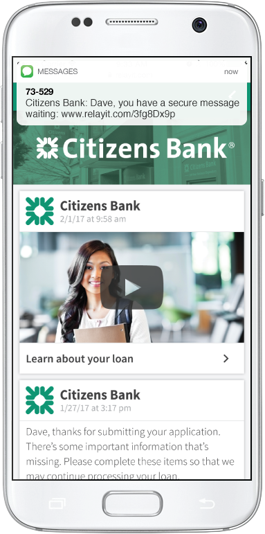 Relay Demo - Customer Messaging with Citizens Bank