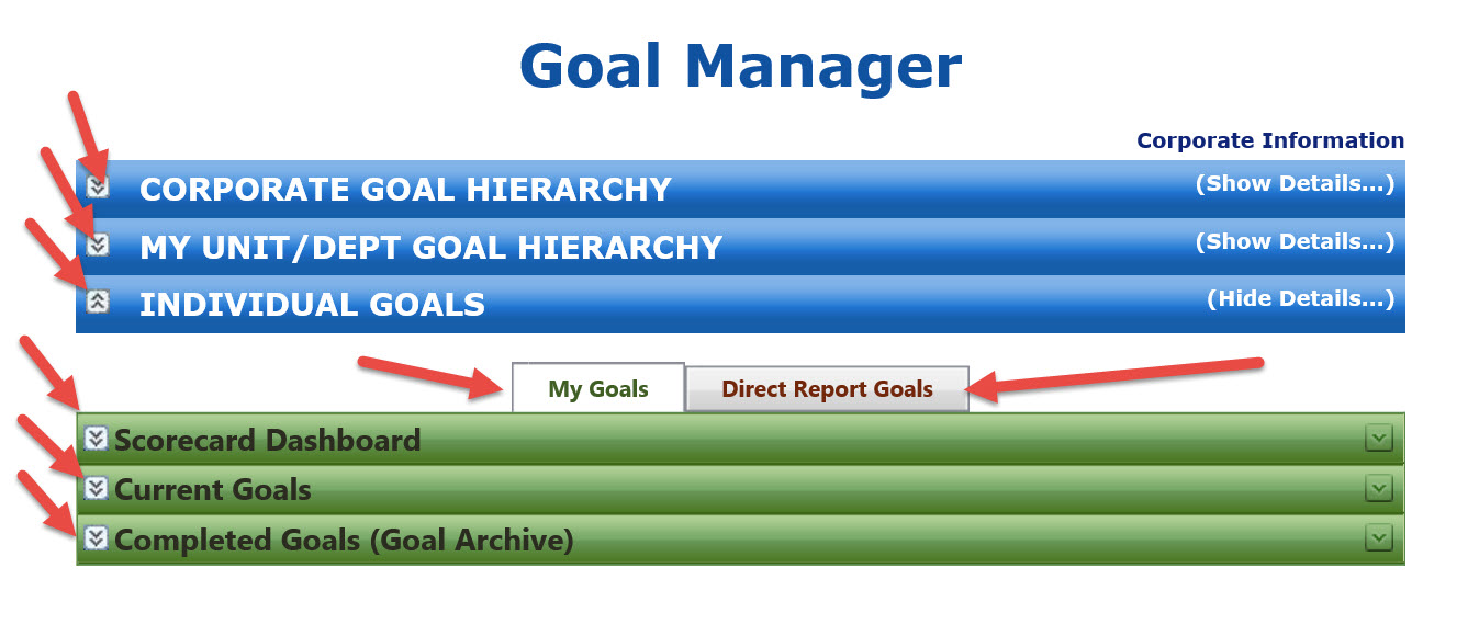 TalentPeak Demo - A manager's home page view of Goal Manager